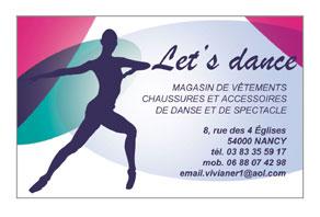 CARTE DE VISITE POUR LE MAGASIN Letss Danse
